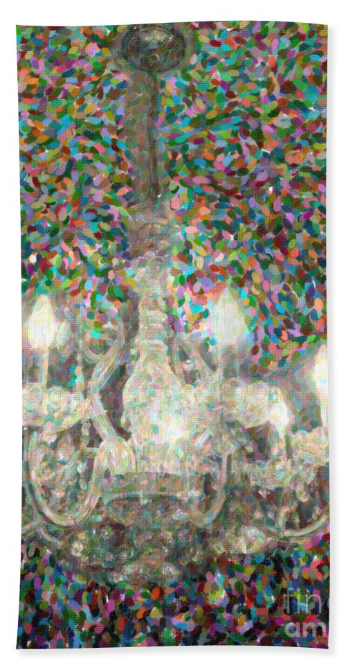 Crystal Beach Towel featuring the digital art Crystal Chandelier by Dale Powell