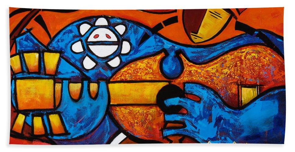 Puerto Rico Beach Towel featuring the painting Cuatro En Grande by Oscar Ortiz