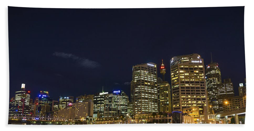 Architecture Beach Towel featuring the photograph Darling Harbour In Sydney Australia by Jacek Malipan