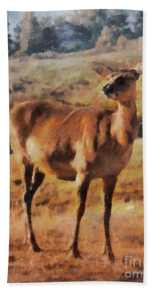 Animal Beach Towel featuring the painting Deer On Mountain by Pixel Chimp