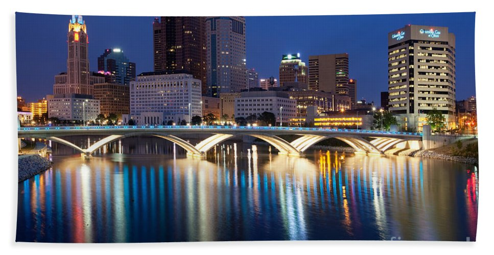 Columbus Beach Towel featuring the photograph Downtown Skyline Of Columbus by Bill Cobb