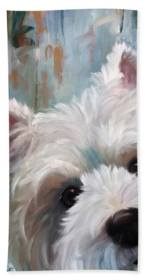 Westie Beach Towel featuring the painting Drip by Mary Sparrow
