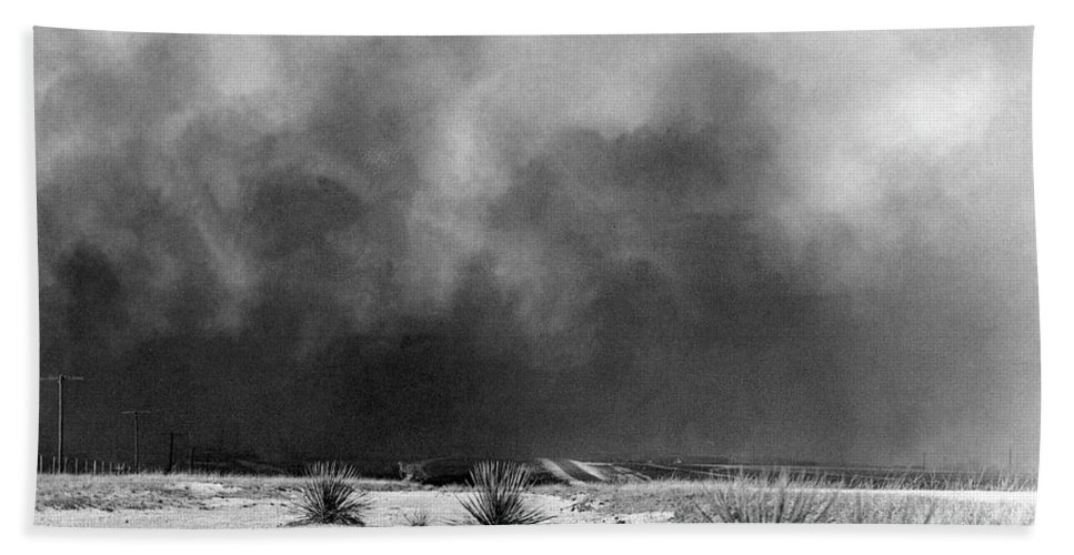 1936 Beach Towel featuring the photograph Drought Dust Storm, 1936 by Granger