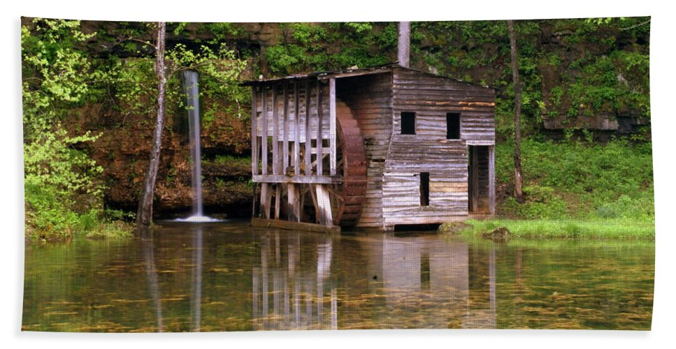 Falling Spring Mill Beach Towel featuring the photograph Falling Spring Mill by Marty Koch