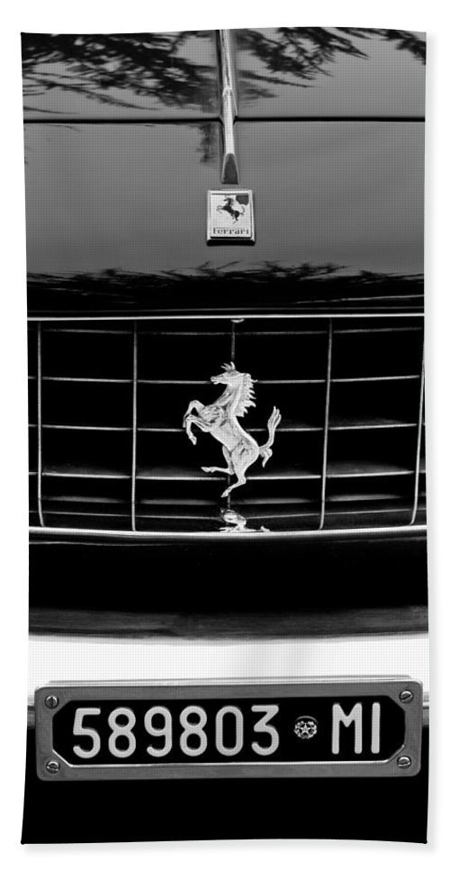 Ferrari Grille Emblem Beach Towel featuring the photograph Ferrari Grille Emblem by Jill Reger