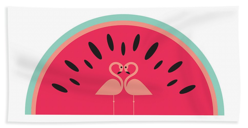Susan Claire Beach Towel featuring the digital art Flamingo Watermelon by MGL Meiklejohn Graphics Licensing