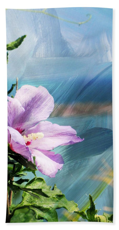 Flower Beach Towel featuring the digital art Flower and Abstract Paint by Anita Burgermeister
