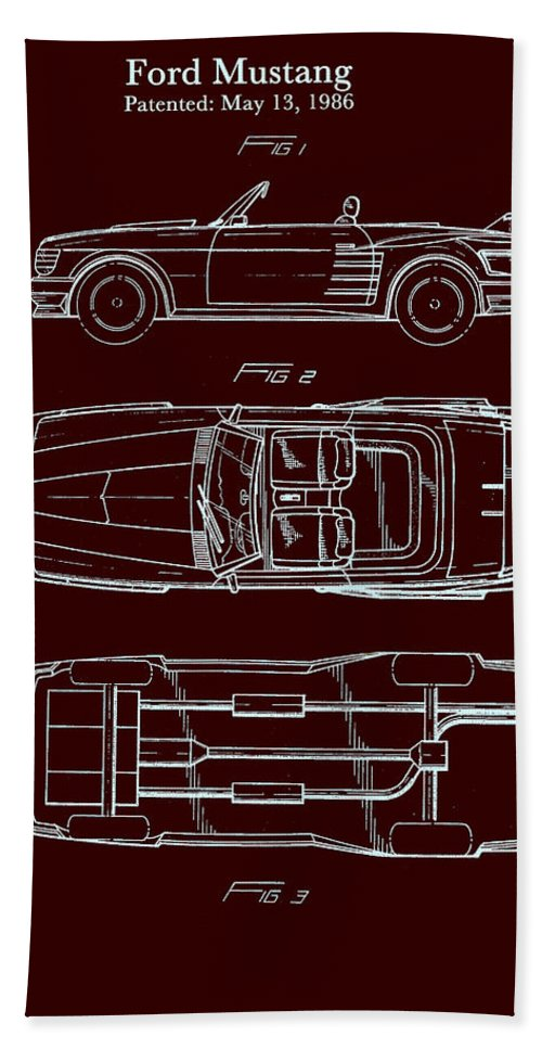 Patent Beach Towel featuring the drawing Ford Mustang Automobile Body Patent 1986 by Mountain Dreams