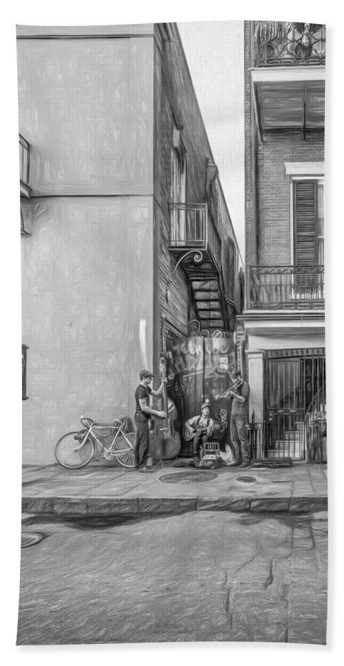 French Quarter Beach Towel featuring the photograph French Quarter Trio - Paint Bw by Steve Harrington