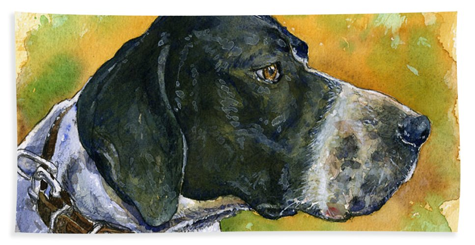 Dog Beach Towel featuring the painting Full Attention by John D Benson