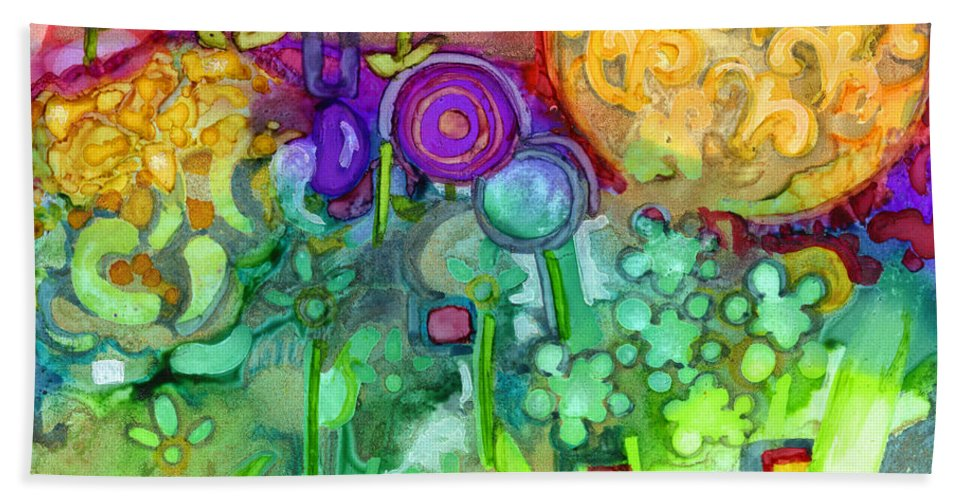 Abstract Floral Beach Towel featuring the painting Garden Sunset by Vicki Baun Barry