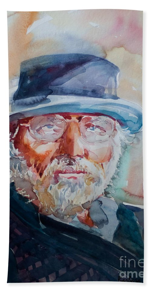 Portrait Beach Towel featuring the painting George by Barbara McMahon
