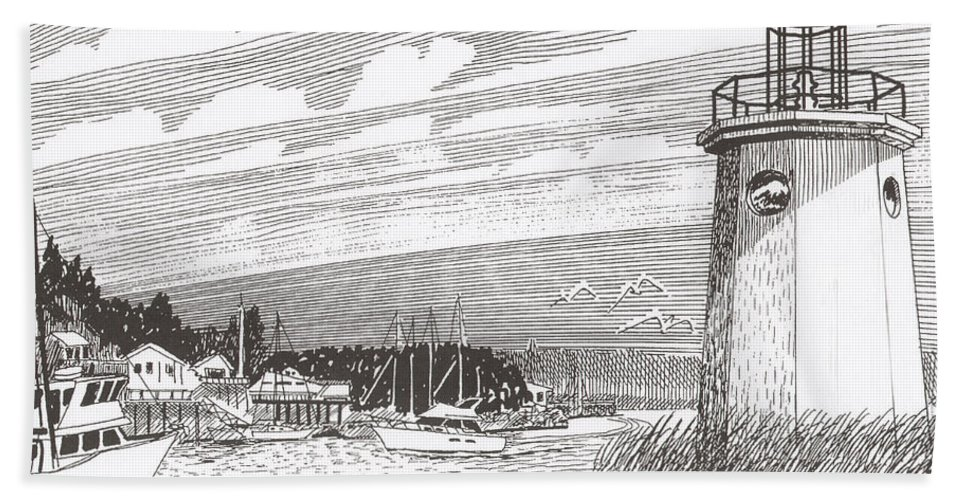 Lighthouse Art Beach Towel featuring the drawing Lighthouse Gig Harbor Entrance by Jack Pumphrey