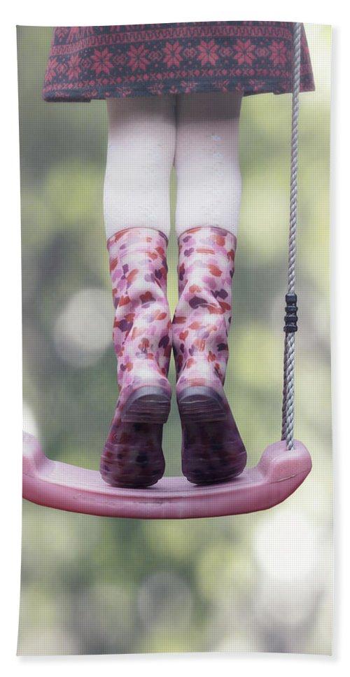 Girl Beach Towel featuring the photograph Girl Swinging by Joana Kruse