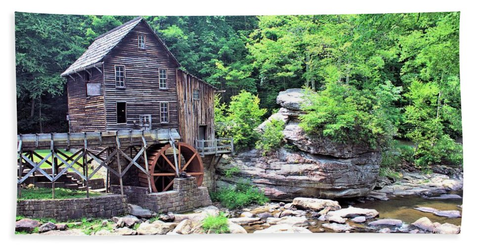 5239 Beach Towel featuring the photograph Glade Creek Grist Mill by Gordon Elwell