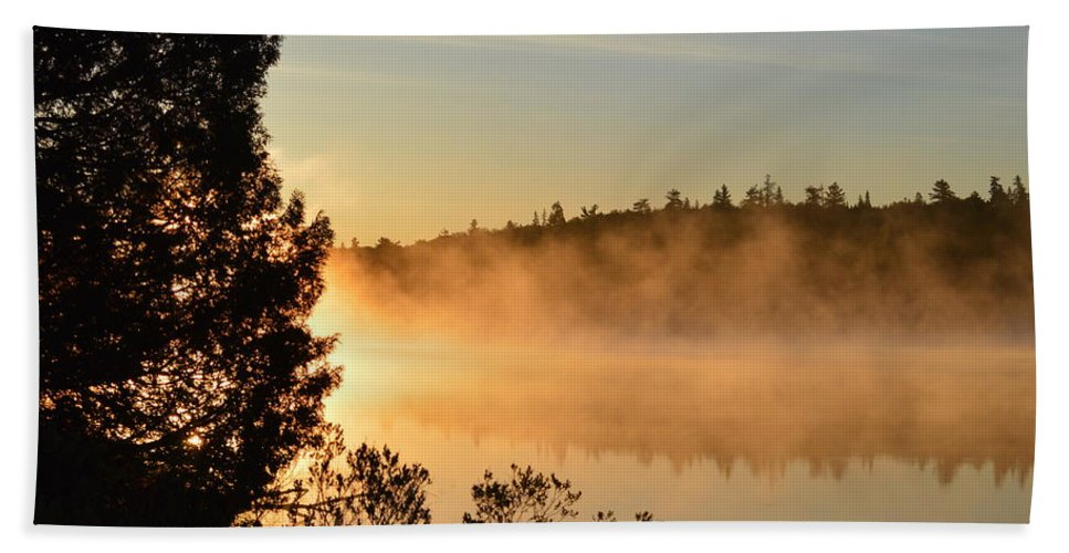 Mist Beach Towel featuring the photograph Golden Light by Thomas Phillips