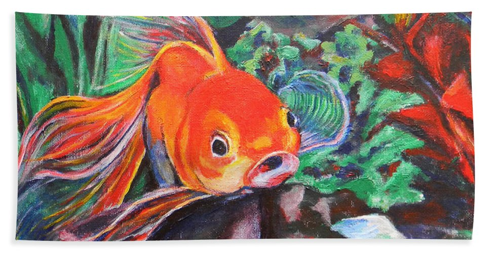 Goldfish Beach Towel featuring the painting Goldie by Art by Kar