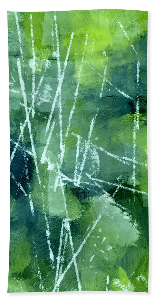 Green Beach Towel featuring the painting Green by Steve K