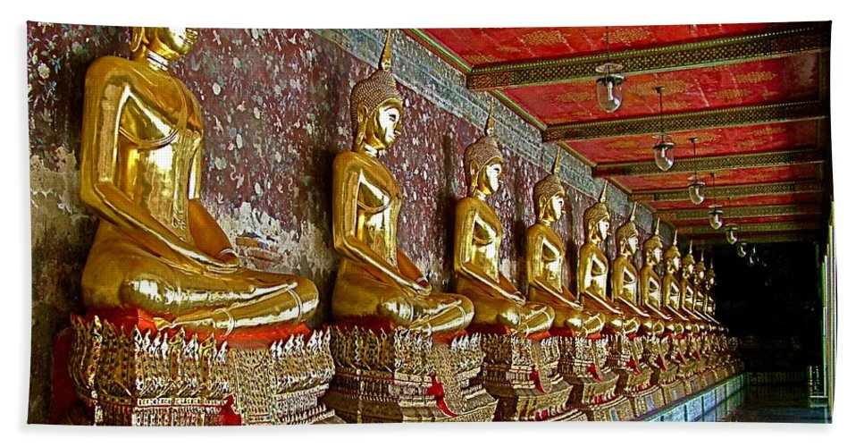 Hall Of Buddhas 2 In Wat Suthat In Bangkok Beach Towel featuring the photograph Hall Of Buddhas At Wat Suthat In Bangkok-thailand by Ruth Hager