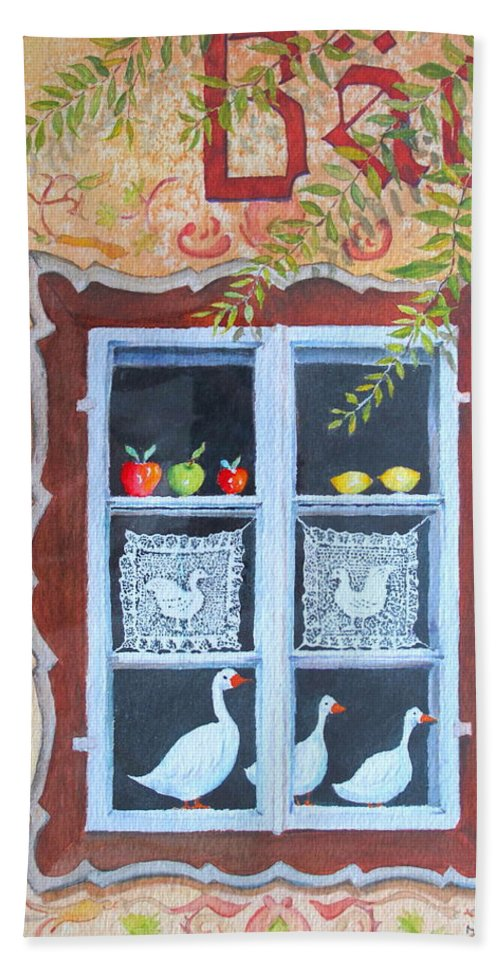 Austria Beach Towel featuring the painting Halstatt Window by Mary Ellen Mueller Legault