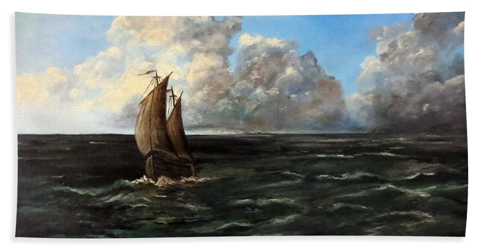 Lee Piper Beach Towel featuring the painting Heading For Shore by Lee Piper