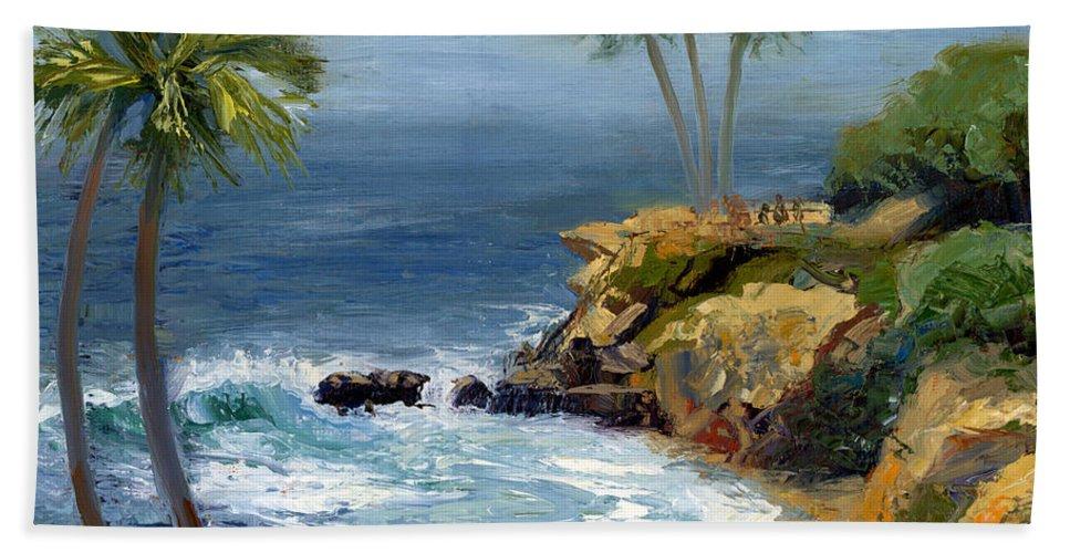 Laguna Beach Beach Towel featuring the painting Heisler Park by Alice Leggett