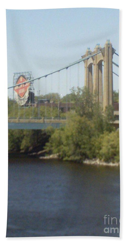 Hennepin Bridge Beach Towel featuring the photograph Hennepin Bridge by Alfie Martin