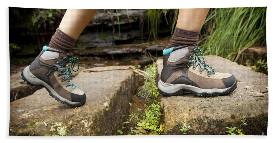 Australia Beach Towel featuring the photograph Hiking Boots by Tim Hester
