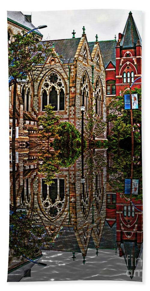 Architecture Beach Towel featuring the photograph Historic Church St Louis Mo 2 by Debbie Portwood