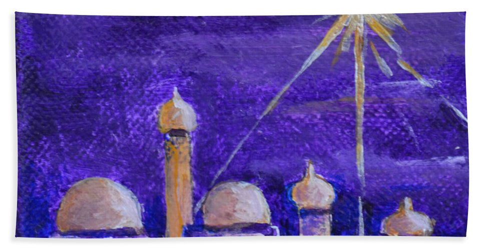 Holy City Bethlehem Ancient Town Jordan Birthplace Of Jesus Purple Bright Star Shining Star Temple Star Of East Gold Building Jerusalem Beach Towel featuring the painting Holy City by Patricia Caldwell
