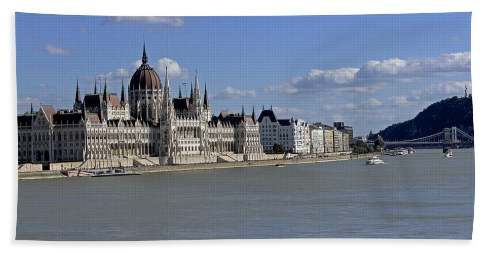 Hungarian Parliament Building Beach Towel featuring the photograph Hungarian Parliament Building by Tony Murtagh