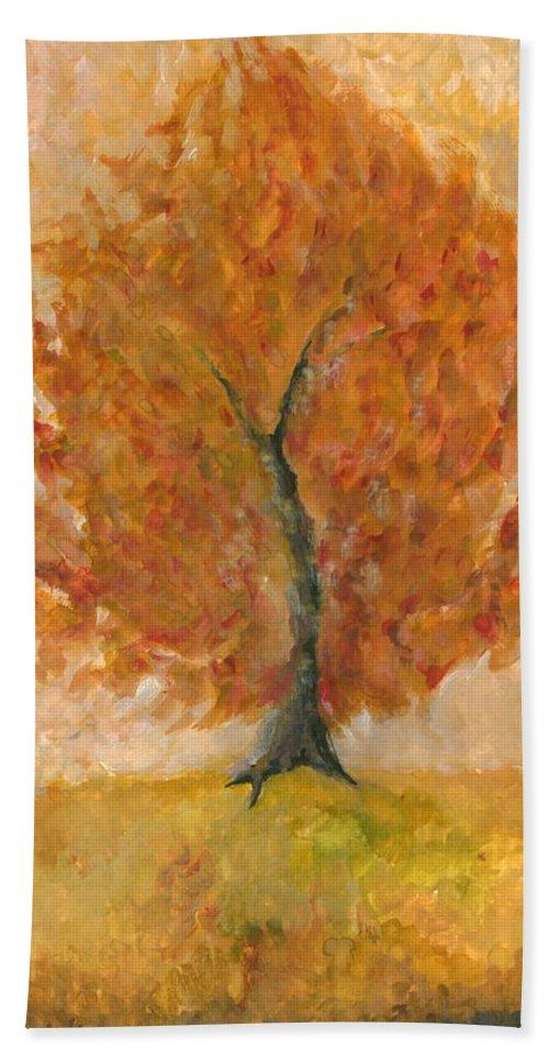Colour Beach Towel featuring the painting I Bloom by Wojtek Kowalski