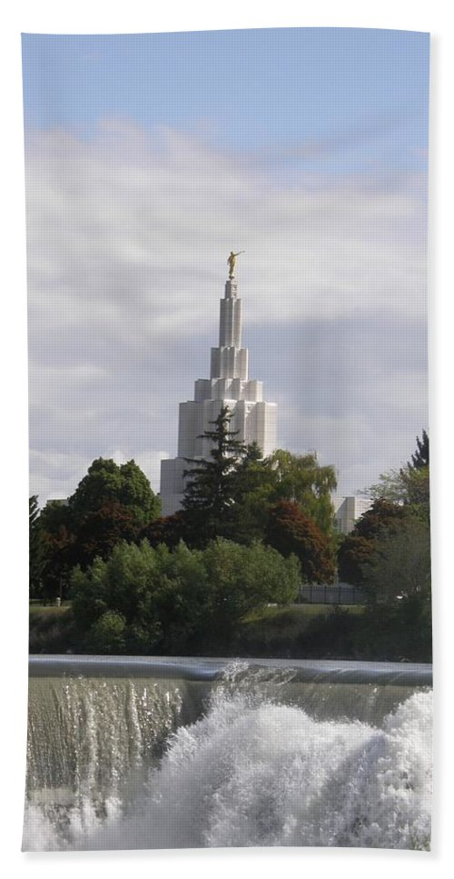 Temple Beach Towel featuring the photograph Idaho Falls Temple by Image Takers Photography LLC