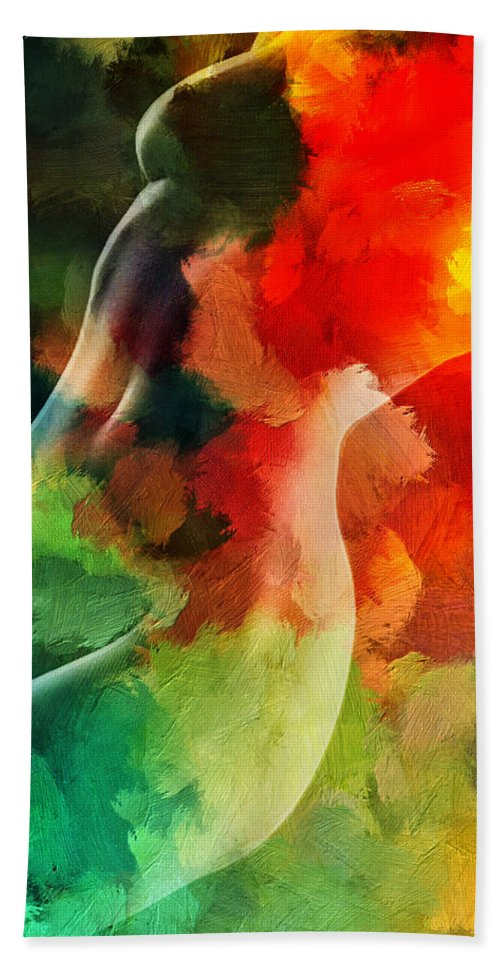 Love Female Curve Curves Sexy Erotic Woman Girl Color Colorful Expressionism Impressionism Abstract Beach Towel featuring the painting Jungle Love by Steve K