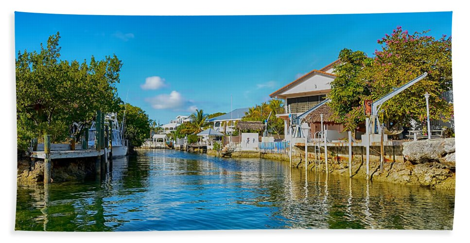 Florida Canvas Beach Towel featuring the photograph Key Largo Canal 3 by Chris Thaxter