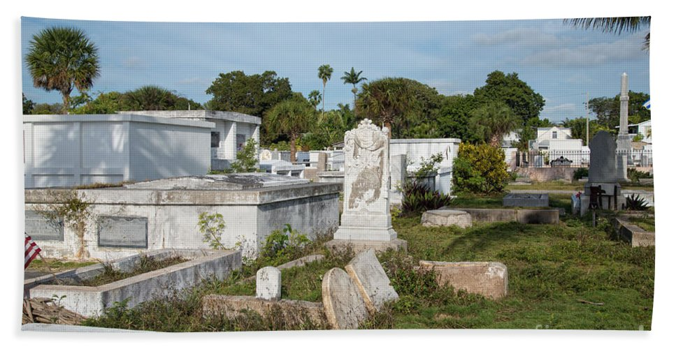 Cemetery Beach Towel featuring the digital art Key West Cemetery by Carol Ailles