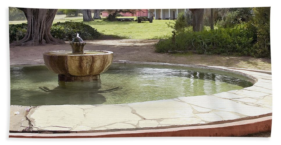 Mission Beach Towel featuring the digital art La Purisima Fountain by Sharon Foster