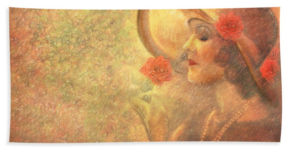 Great Gatsby Era Beach Towel featuring the pastel 1-lady In The Flower Garden by Angela Stanton