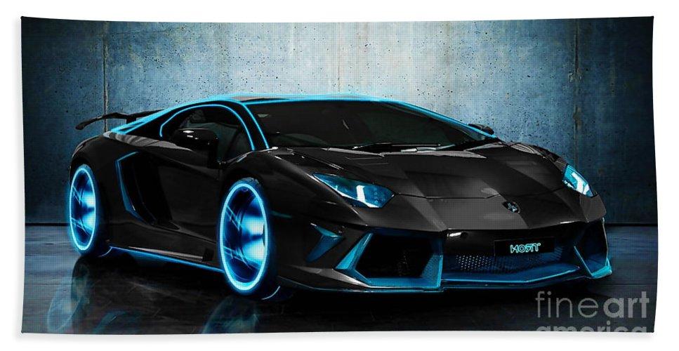 Auto Photographs Lamborghini Art Beach Towel featuring the mixed media Lamborghini by Marvin Blaine