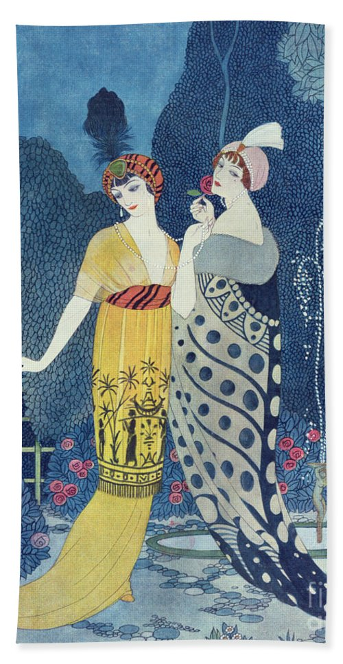 Art Deco Beach Towel featuring the painting Les Modes by Georges Barbier
