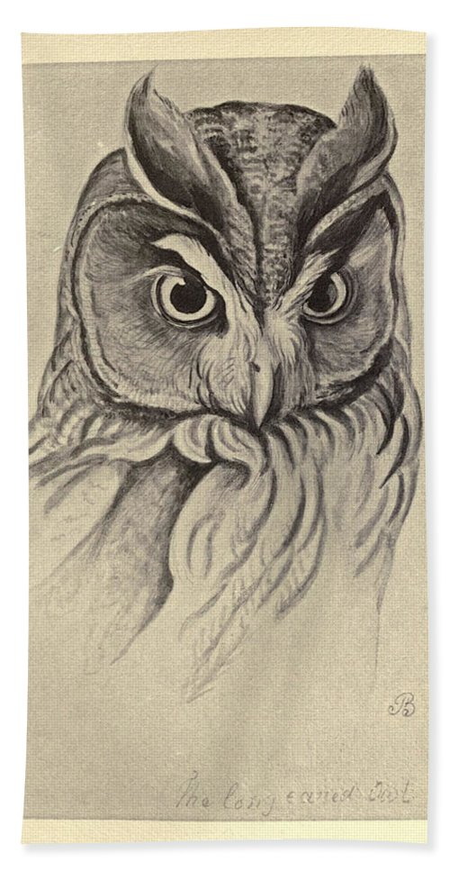 Audubon Beach Towel featuring the painting Long Eared Owl by Philip Ralley