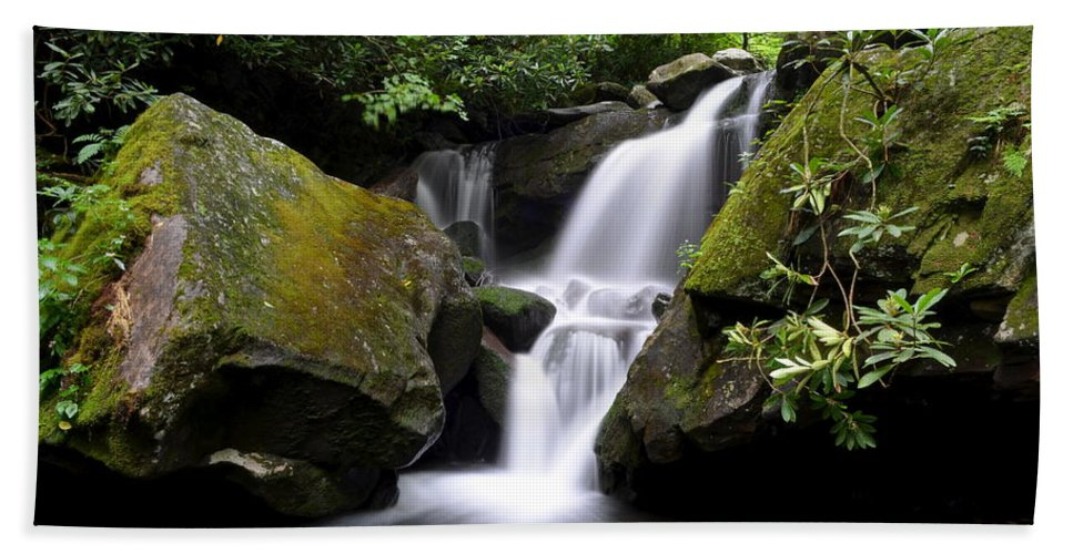 Smoky Beach Towel featuring the photograph Lower Grotto Falls by Frozen in Time Fine Art Photography