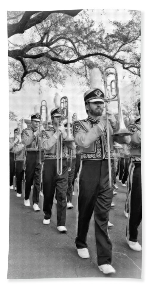 Lsu Beach Towel featuring the photograph Lsu Marching Band Vignette by Steve Harrington