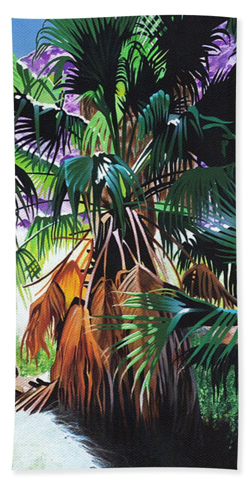 Palm Trees Beach Towel featuring the painting Luminous by Joe Roselle