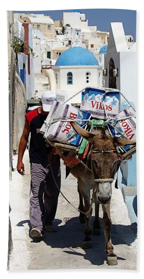 Santorini Beach Towel featuring the photograph Man And His Pack Mule by Jenny Hudson
