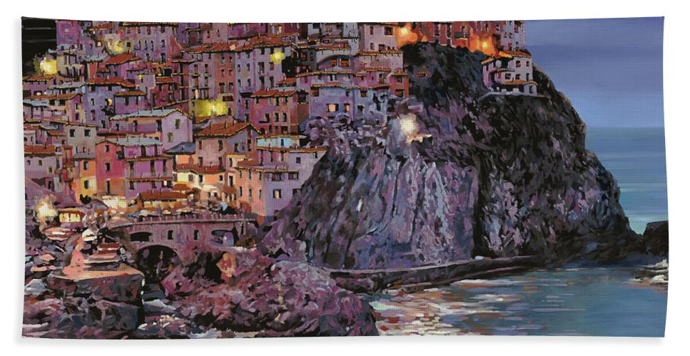 Manarola Beach Towel featuring the painting Manarola al crepuscolo by Guido Borelli
