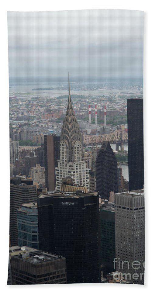 Buildings Beach Towel featuring the digital art Manhattan From The Empire State Building by Carol Ailles