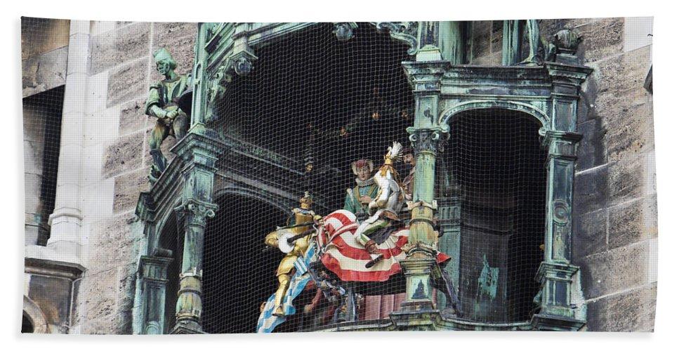 Glockenspiel Beach Towel featuring the photograph Mechanical Clock In Munich Germany by Howard Stapleton