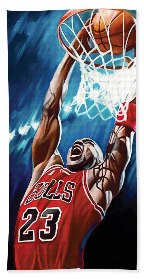 Nba Beach Sheet Featuring The Painting Michael Jordan Artwork By Sheraz A