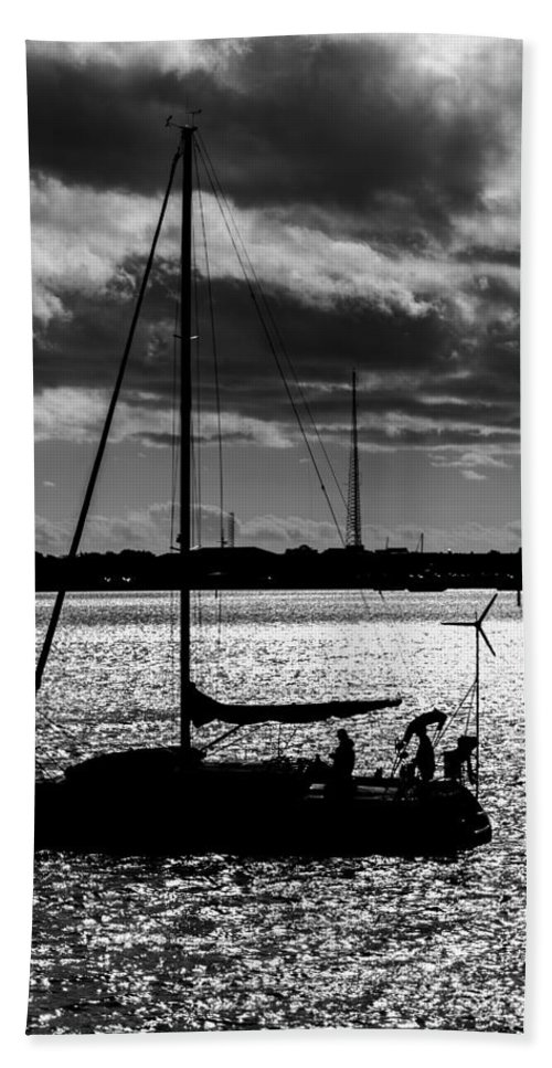 B&w Beach Towel featuring the photograph Morning Sail by Gaurav Singh